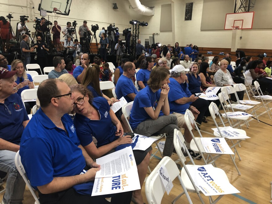 Miami-Dade teachers attend a town hall with then-presidential candidate Beto O'Rourke hosted by the national union American Federation of Teachers in June 2019. The union's president, Randi Weingarten, has been sharply critical of Gov. Ron DeSantis.