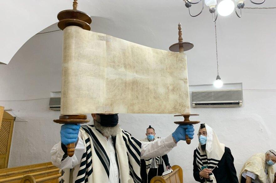 Yehezkel Cahn, 71, runs morning prayers at the Ramban Synagogue in the heart of the Jewish quarter of Jerusalem's Old City.