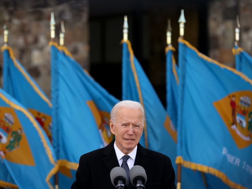 Joe Biden, seen here speaking in Delaware just before leaving for Washington, D.C., has planned a flurry of executive actions for the start of his presidency.