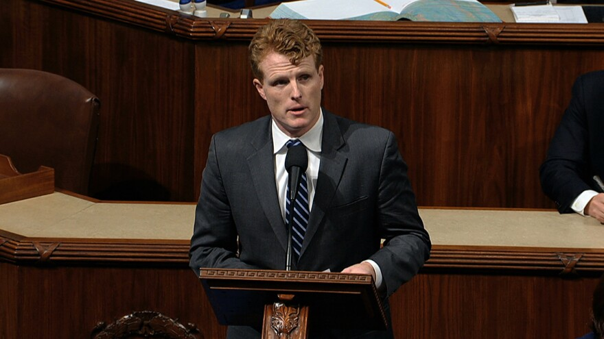 Rep. Joe Kennedy, D-Mass., speaks as the House of Representatives debates the articles of impeachment against President Trump on Wednesday.