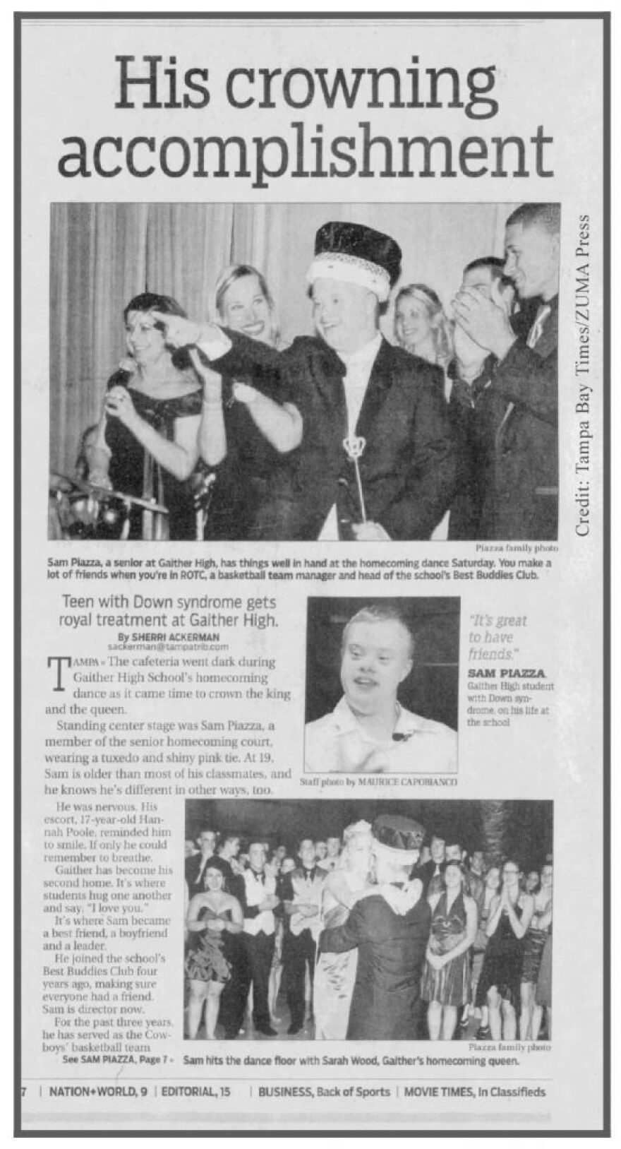 Newspaper coverage of Piazza winning Homecoming King.