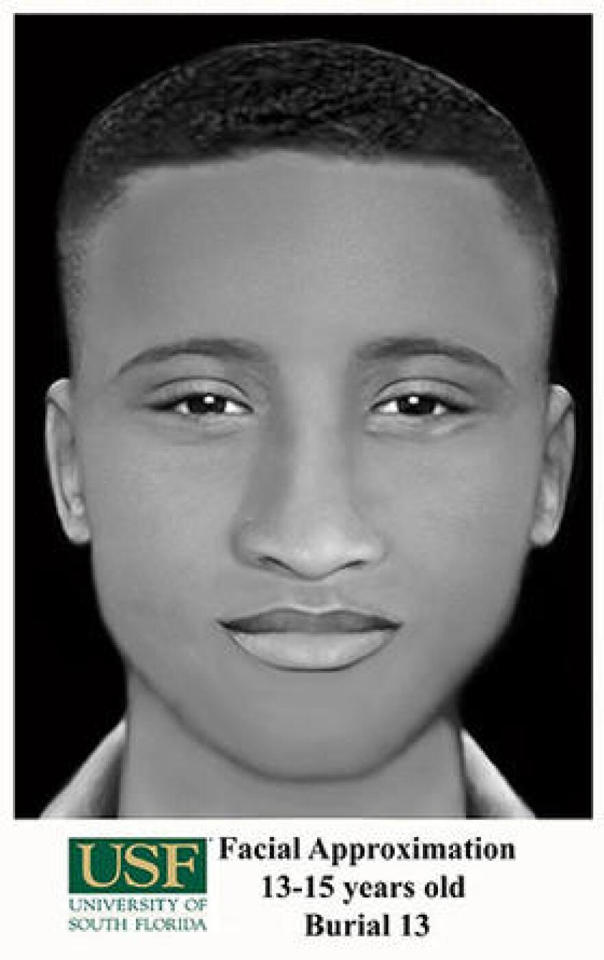 "Facial reconstruction of ""Burial 13,"" an African American boy, 11-14 years old, buried on the grounds of the Dozier School for Boys. USF officials hope the reconstruction, the second one they did, will help someone recognize a relative who was buried at the school."