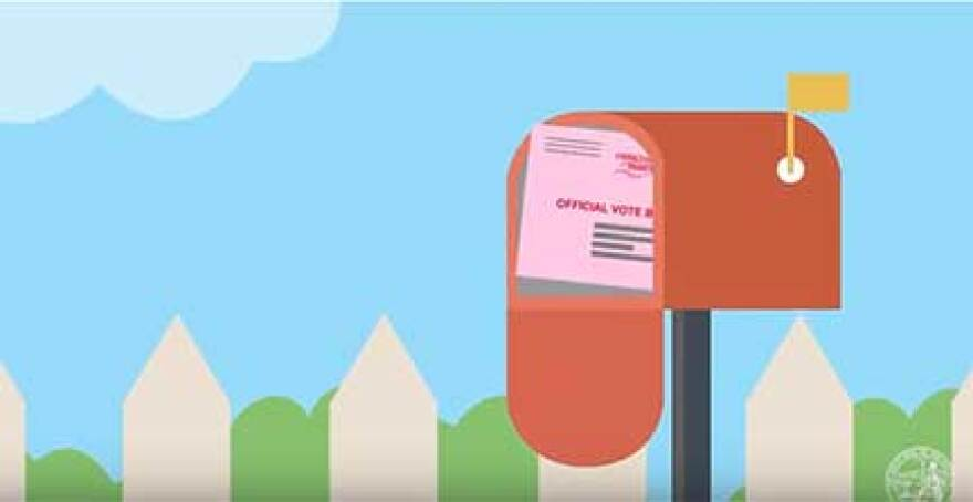 Cartoon of voting slip in outgoing mail