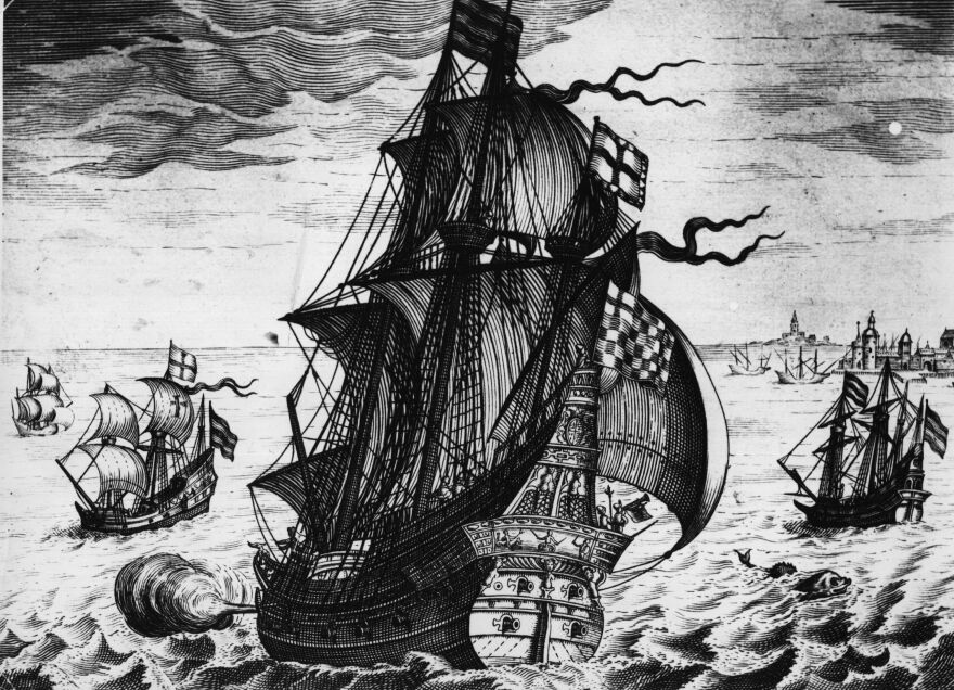 A Spanish galleon is seen here in an artist's depiction of trade on the high seas in the 16th century. Colombia says it's found a galleon from 1708 that is believed to hold billions of dollars' worth of treasure.