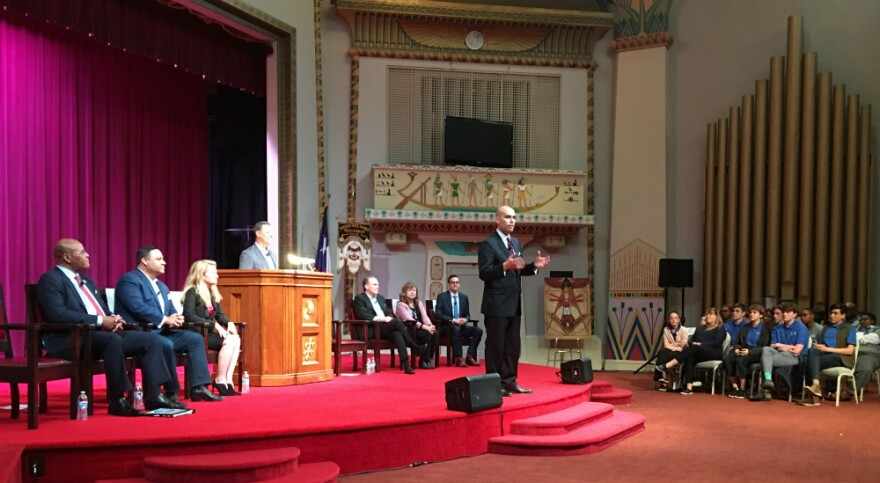 Most Dallas mayor candidates appeared at an election forum March 28, 2019, at the Dallas Scottish Rite Temple in downtown Dallas. Pictured is Dallas school board member Miguel Solis addressing the audience.