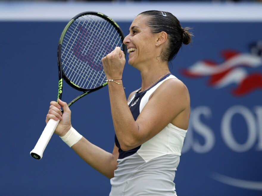 Italian player Flavia Pennetta after beating Petra Kvitova, of the Czech Republic, in a quarterfinal match at the U.S. Open on Wednesday at Arthur Ashe Stadium.