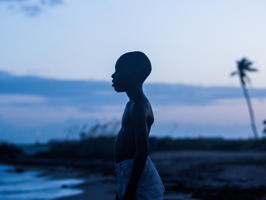Alex R. Hibbert plays Chiron, a young black man growing up gay in an impoverished part of Miami in <em>Moonlight</em>.