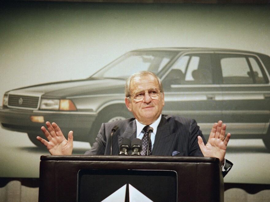 Lee Iacocca, pictured in February 1989, died Tuesday at the age of 94. Under his leadership he brought Chrysler back from the brink of bankruptcy. He is also considered the father of the Mustang, which he helped develop during his stint at Ford.
