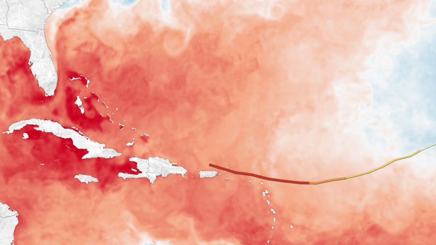 This composite image shows Hurricane Irma's path as it moved into the warm waters of the western Atlantic. Sea surface temperatures are high this year.