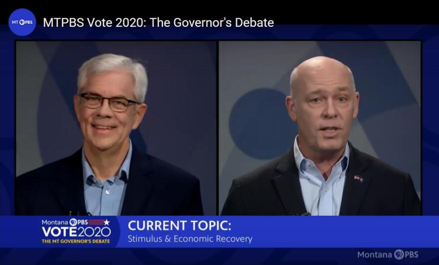 Screen capture of Montana gubernatorial candidates Mike Cooney and Greg Gianforte during a MontanaPBS debate Oct. 6, 2020.