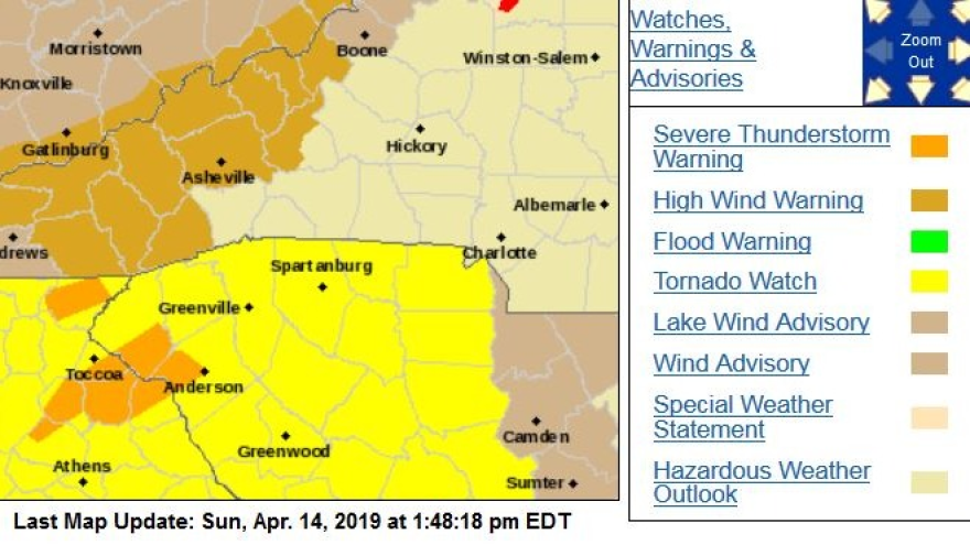 There's a tornado watch issued for over much of upstate South Carolina.