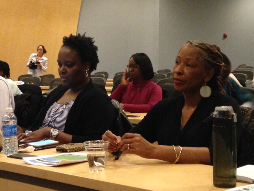 Child therapist Anita Blackwell (right) attends a workshop for Emotional Emancipation Circles on December 6, 2014 at Harris Stowe University.