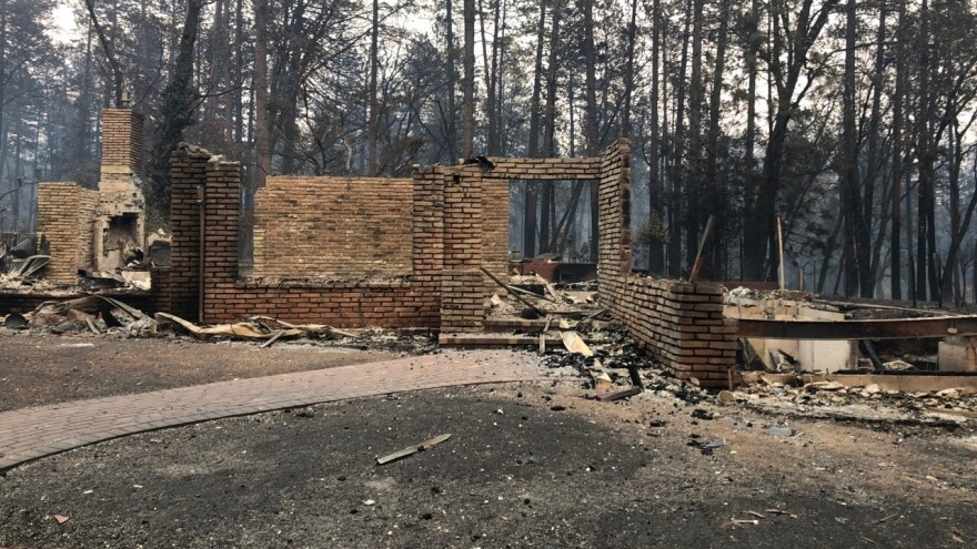 A structure in the town of Paradise which has been devastated by the deadly wildfire.