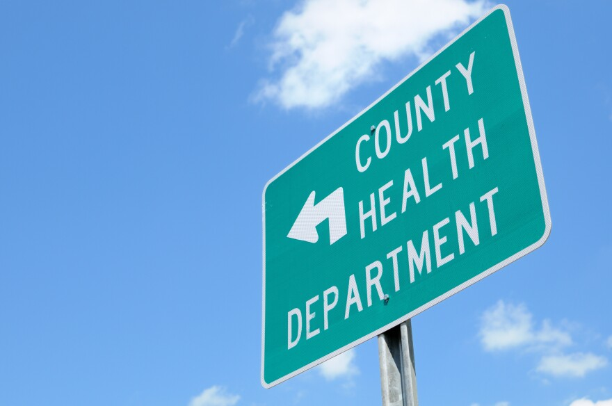 Photo of county health department road sign.