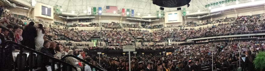 A panoramic view of the USF Sun Dome during a commencement ceremony