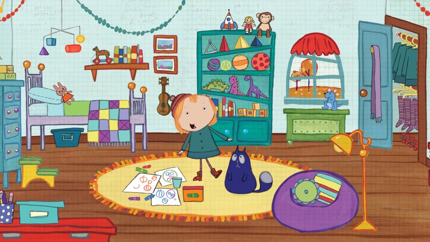 """The Messy Room Problem"" -- Peg and Cat sort through the mess in Peg's room just in time for company to come over and see Cat's masterpiece, ""The Circles."" (Episode 102A)"