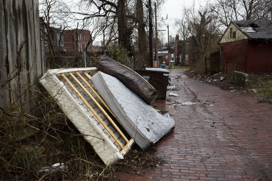 An alleyway in St. Louis' Dutchtown neighborhood where bedroom furniture was dumped.