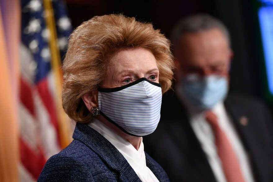 Senator Debbie Stabenow (D-MI) speaks during a press conference at the US Capitol in Washington, DC.