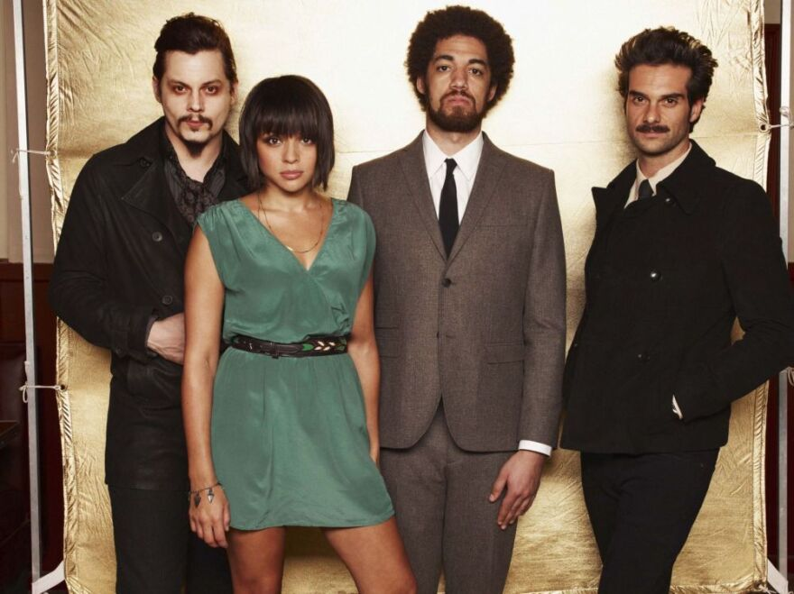 Left to right: Jack White, Norah Jones, Danger Mouse (a.k.a. Brian Burton), Daniele Luppi. <em>Rome</em> comes out May 17.