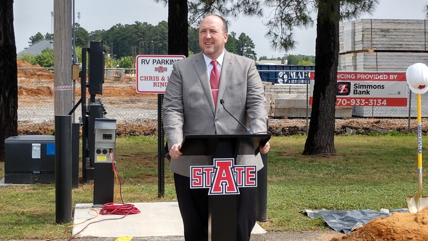 Dr. Charles Welch, ASU System President, speaking at the Red Wolf Convention Center groundbreaking