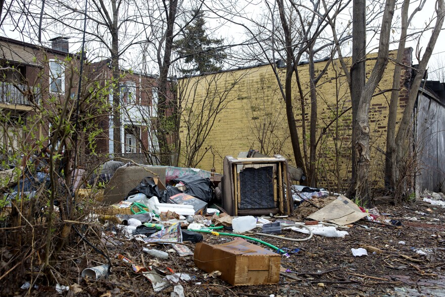 Garbage scattered all over a vacant yard in St. Louis' Dutchtown neighborhood.