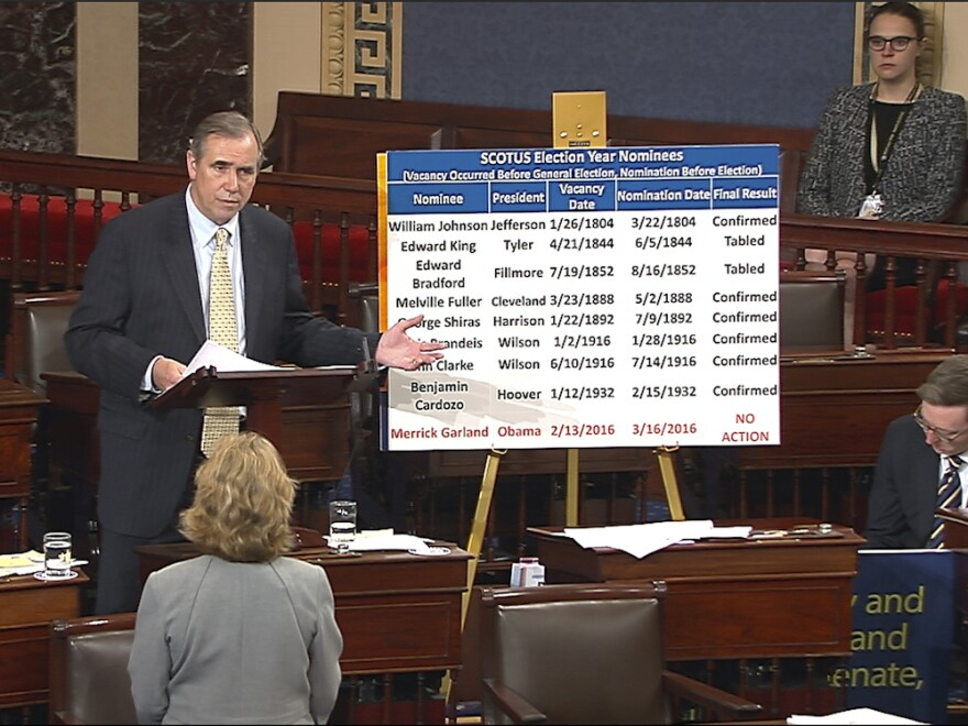 In this screenshot from video provided by Senate Television, Sen. Jeff Merkley, D-Ore., speaks on the floor of the Senate on Wednesday.