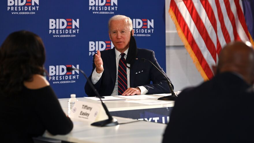 Democratic presidential candidate Joe Biden holds a roundtable meeting on reopening the economy with community leaders at the Enterprise Center in Philadelphia on Thursday.