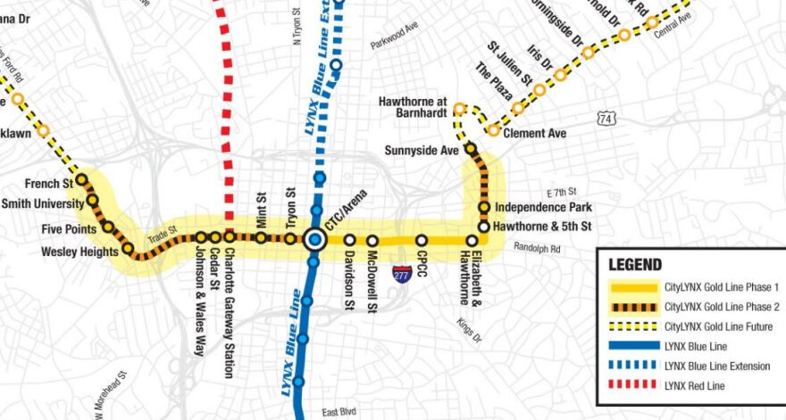 The Gold Line phase 2 project adds stops west of uptown and east of the current terminus at Hawthorne Avenue and Fifth Street.