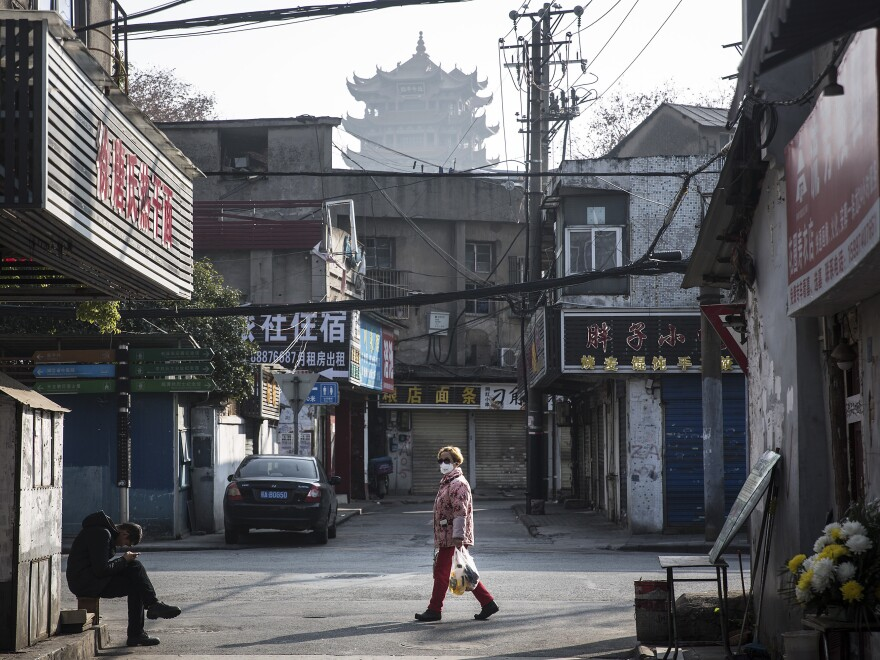 A street scene in Wuhan on January 31. The 76-day absolute lockdown had begun days earlier. Nearly all of the city's 11 million residents could not leave their apartments.