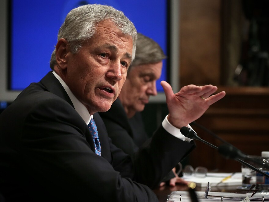 Secretary of Defense Chuck Hagel testifies during a hearing before the Senate Budget Committee in June.