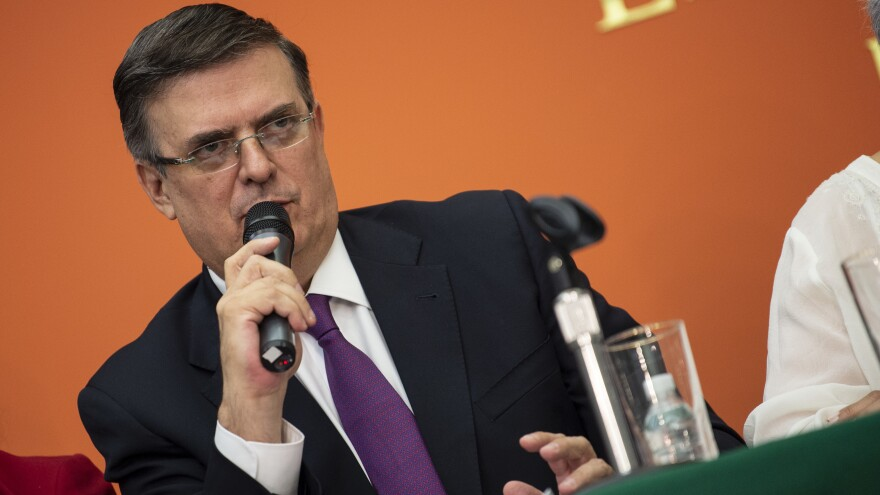 Mexican Foreign Minister Marcelo Ebrard attends a news conference with the Mexican delegation negotiating tariffs with U.S. officials on Monday in Washington, D.C.
