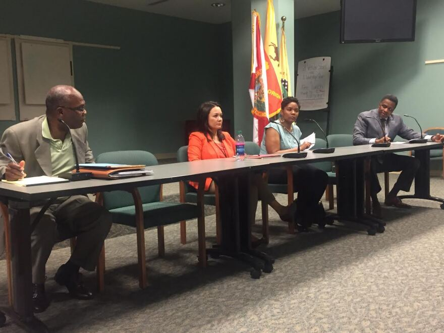 From left to right: Council members Reggie Gaffney, Anna Lopez Brosche, Katrina Brown and Reggie Brown.