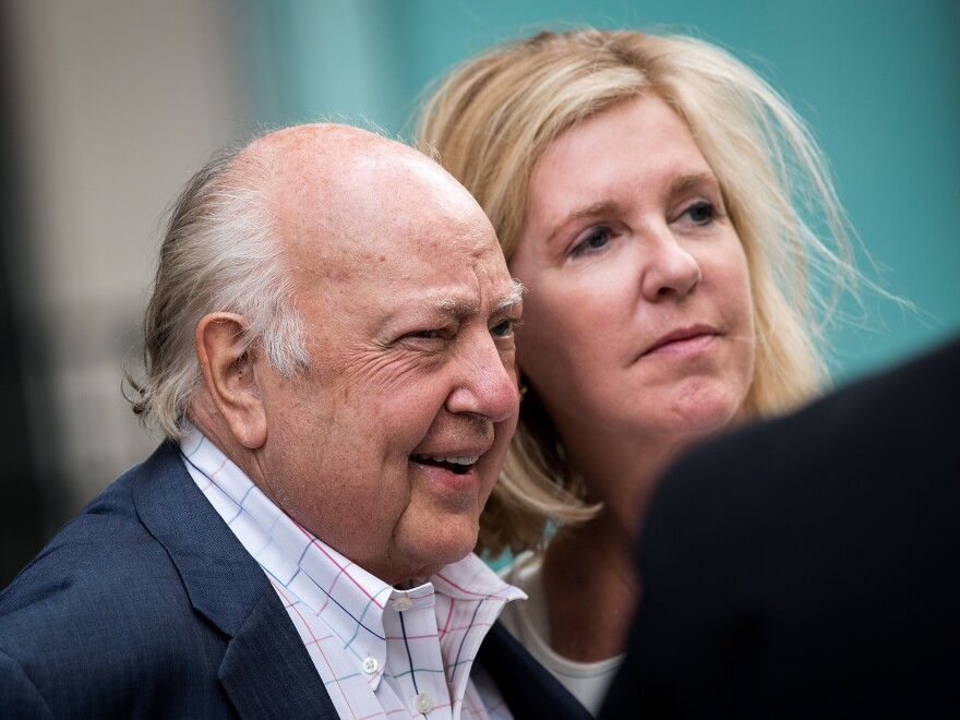 Then-Fox News chairman Roger Ailes with his wife Elizabeth Tilson in 2016. A New York attorney alleges Fox faces a federal probe related to sexual harassment of company employees by Ailes.