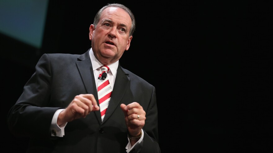 Former Arkansas Gov. Mike Huckabee at the Family Leadership Summit in Iowa earlier this month.