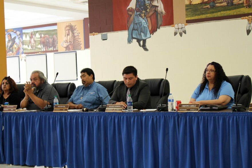 Harlandale's elected school board listens to community members' concerns about the result of a state investigation into the district's governance and financial management Thursday, Aug. 1, 2019.