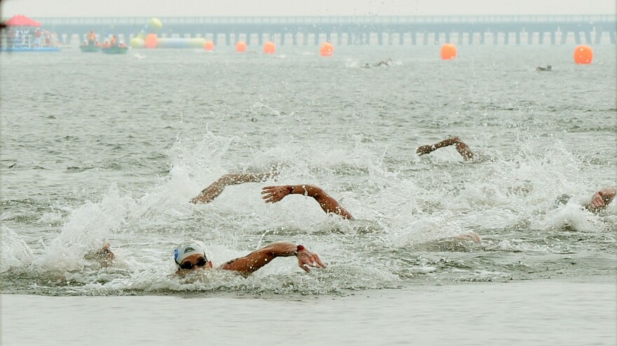 Spyros Gianniotis (front left) of Greece won the 10-kilometer open-water event at the 2011 world championships, held in Shanghai.