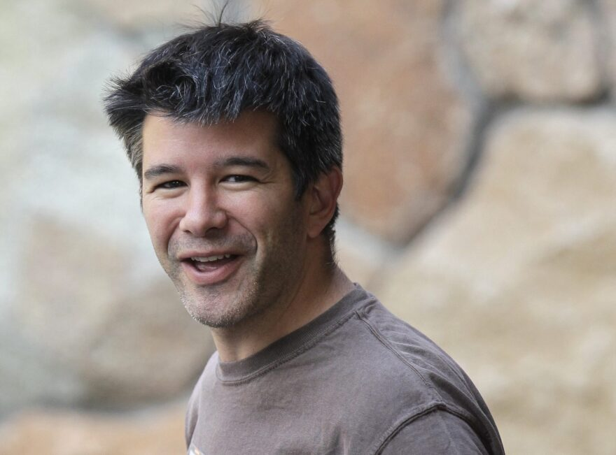 In this July 10, 2012 file photo, Uber CEO and co-founder Travis Kalanick arrives at a conference in Sun Valley, Idaho. The New York Times and other media are reporting Sunday, June 11, 2017, that Uber's board is considering placing Kalanick, the CEO of the ride-hailing company, on leave. (Paul Sakluma/AP)