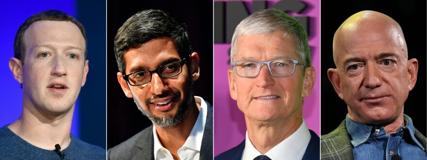 Facebook CEO Mark Zuckerberg (from left), Google CEO Sundar Pichai, Apple CEO Tim Cook and Amazon CEO Jeff Bezos are scheduled to testify before a House Judiciary subcommittee.