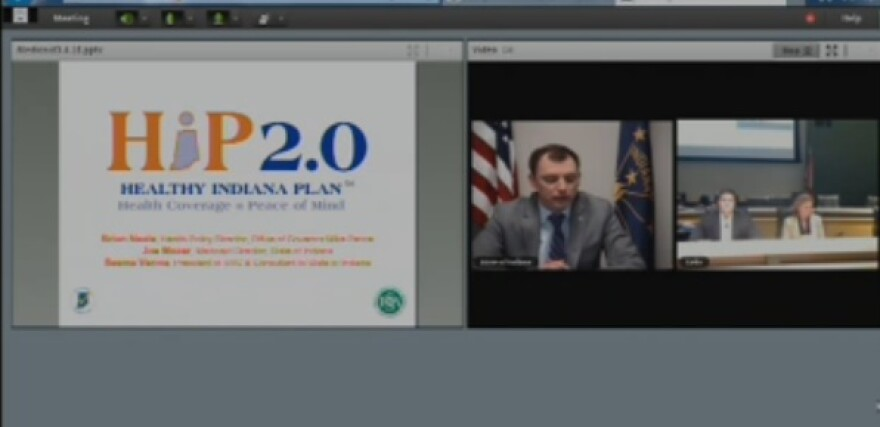 Indiana health officials talk Medicaid expansion via video conferencing.