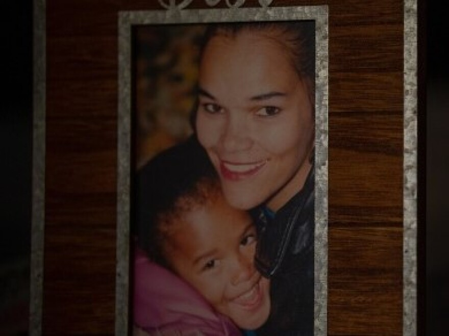 Martina Faulk, and her daughter, Nadia King, embrace in a photograph.