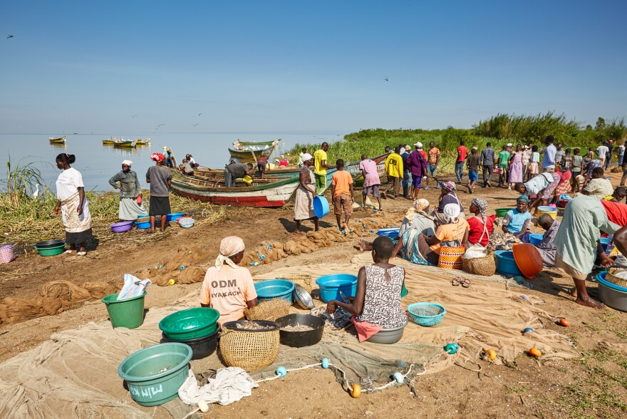 When fishing boats would land at Nduru Beach, there was a bustle of activity. This photo was taken in November 2019. The landing area of the beach is now under water because of flooding from Lake Victoria.