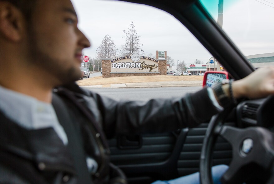 Olvera, 26, behind the wheel in Dalton, Ga., where he's lived most of his life. Olvera's DACA status allows him to have a driver's license.