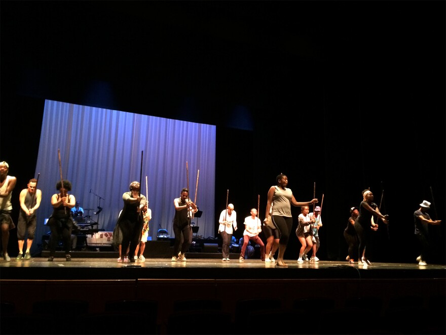 Simangele Mashazi and the cast rehearse songs from Coker's adaptation of Miriam Makeba's life.