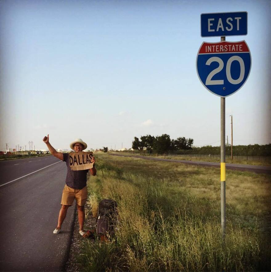 """Hoang-Chau Nguyen puts his thumb out to catch a ride from Midland, Texas, to Dallas. He posted this photo on Facebook with the caption: """"Hitchhiking is all about viewing your immediate problems in pragmatic and strategic terms. There aren't any other issues, only your actual resources and your awareness of all your possible choices of action."""""""