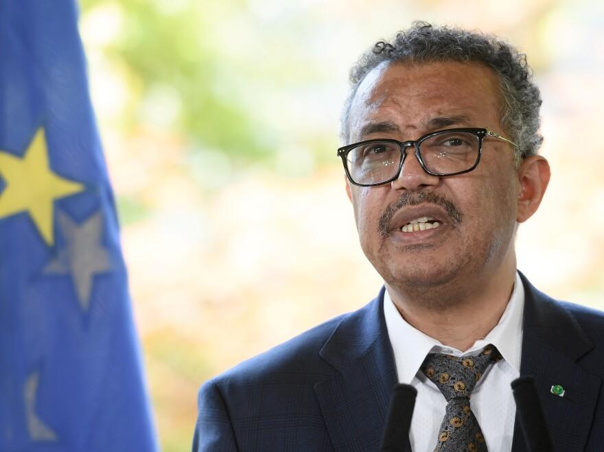 World Health Organization Director-General Tedros Adhanom Ghebreyesus speaks during a news conference this week in Geneva.