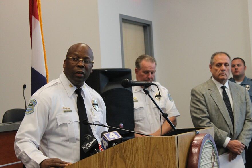 Interim Ferguson Police Chief Andre Anderson announces the arrest of De'Eris Brown for the shooting death of nine-year-old Jamyla Bolden Thursday Aug. 27, 2015 at the Ferguson Police Department.