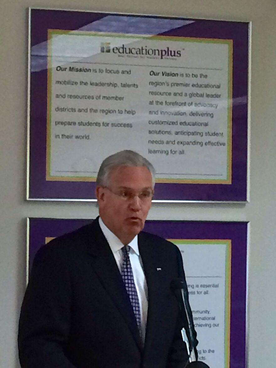 Gov. Jay Nixon addresses area school superintendents at EducationPlus.