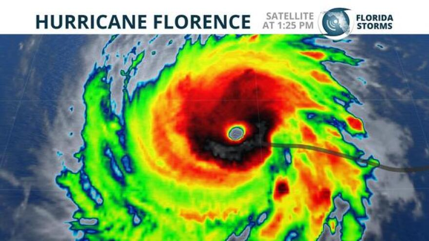 Satellite snapshot of Hurricane Florence as it became a Category 4 storm Monday.