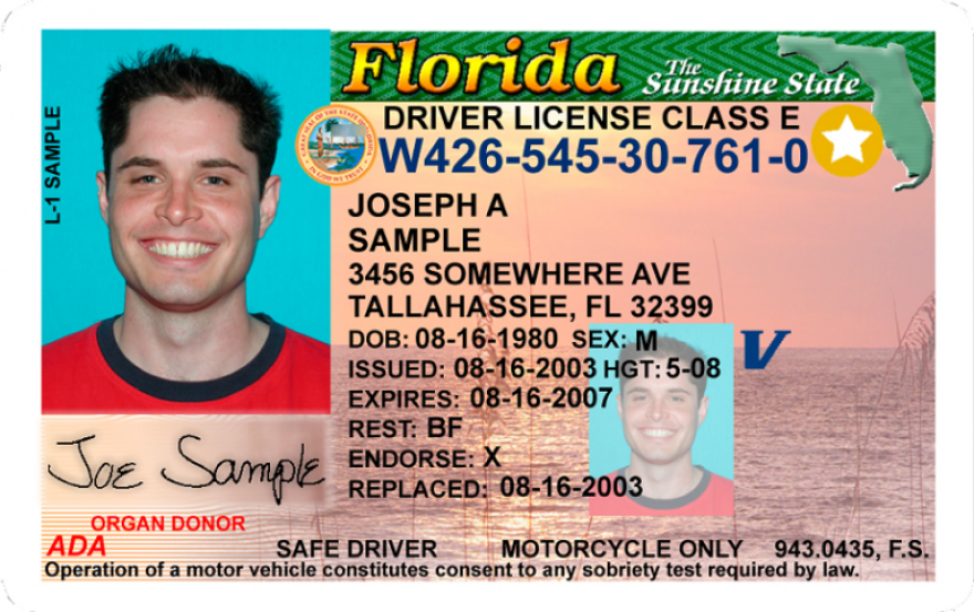 picture of a young man's driver's license with a gold star in right hand corner.