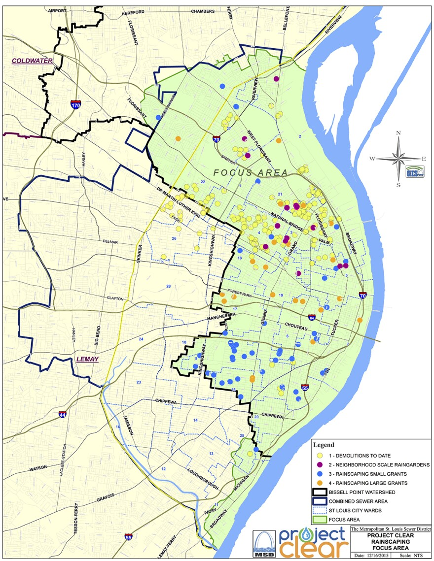 """This map shows the Metropolitan St. Louis Sewer District's """"green"""" infrastructure projects through Dec. 2015."""